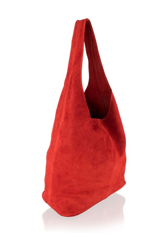 Woodland Leather Red Suede Shopping Bag With Matching Suede Purse