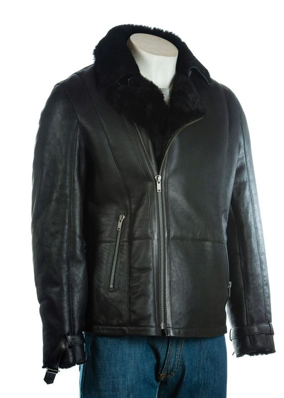 Men's Black Weathered Shearling Sheepskin Biker Style Jacket