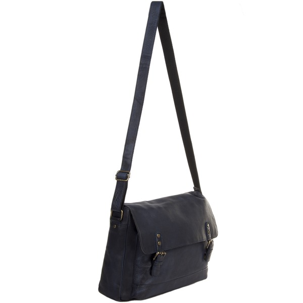 Square ashwood medium leather vintage wash messenger bag with laptop sleeve navy 1336 p1230 5288 image