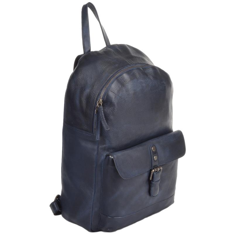 Ashwood Unisex Leather Navy Vintage Wash Backpack