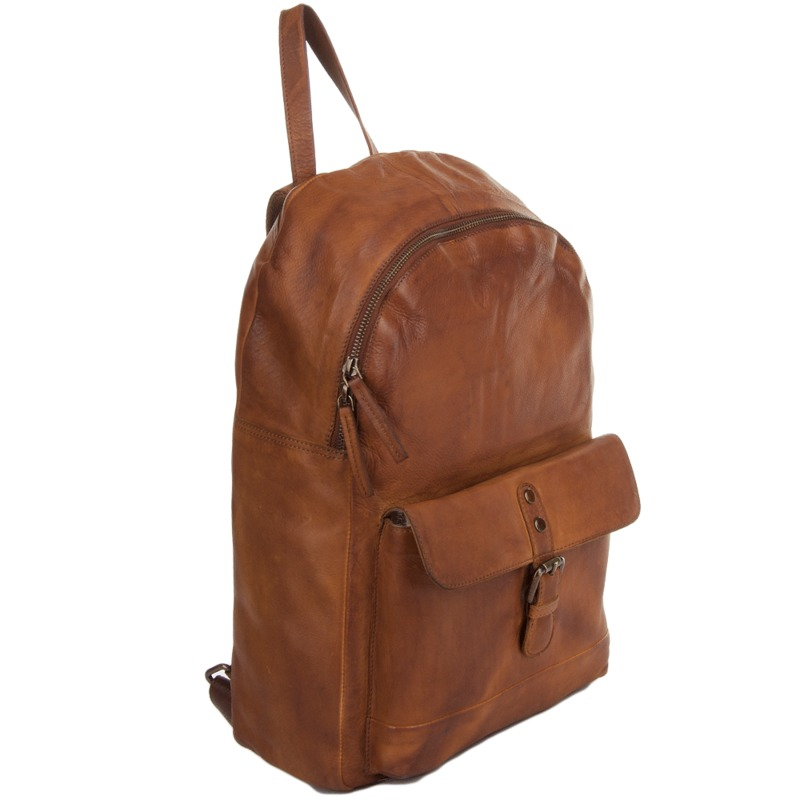 54f4edfef782 Ashwood Unisex Leather Cognac Vintage Wash Backpack