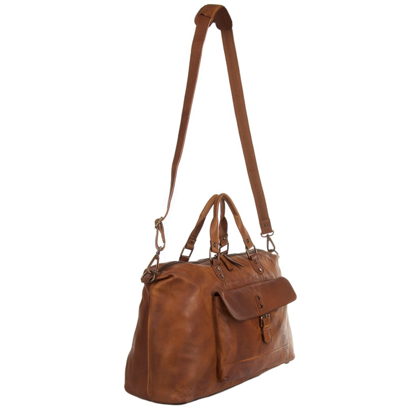 fb98c597f002 Ashwood Large Cognac Leather Vintage Wash Travel Bag