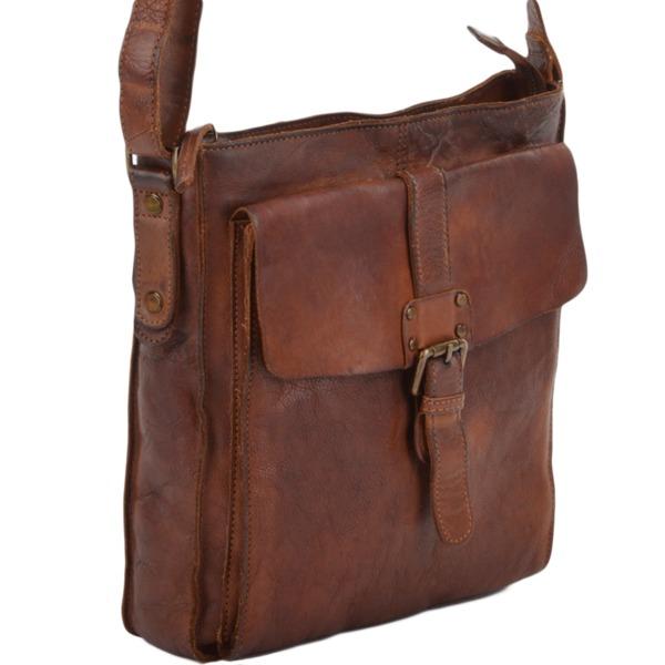 Square ashwood mens vintage wash leather a4 side bag rust 7994 p676 2768 image
