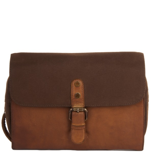 Square ashwood vintage wash leather and canvas hanging toiletry bag rust 1338 p1233 5302 image
