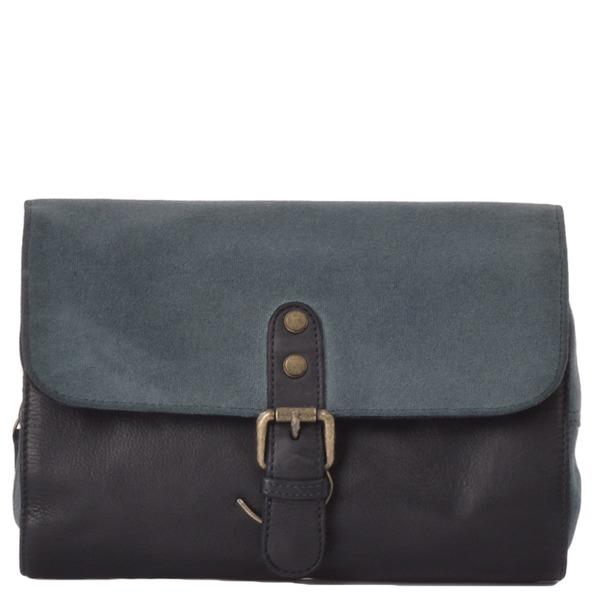 Square ashwood vintage wash leather canvas hanging toiletry bag navy 1338 p1315 5723 image