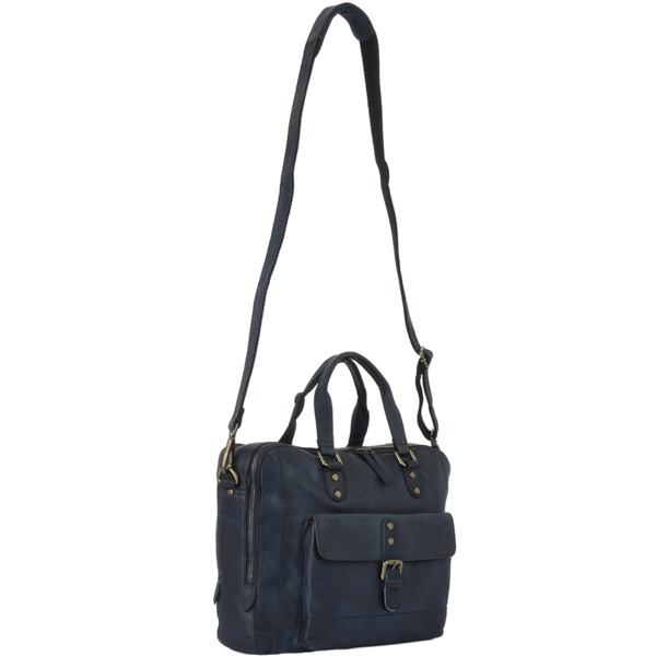 Square ashwood medium leather vintage wash two section work bag navy 1334 p1313 5740 image