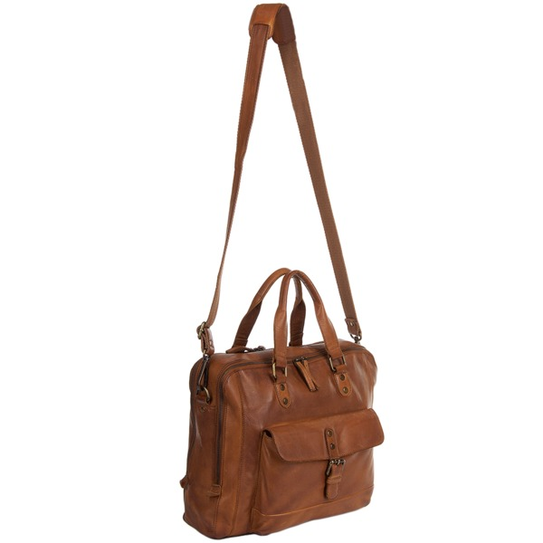 Ashwood Cognac Medium Leather Vintage Wash Two Section Work Bag 7361eee7242ad