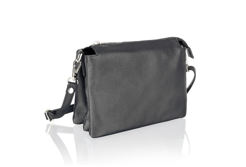 Woodland Leather Black Triple Pocket Small Bag