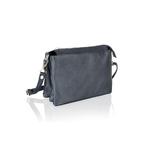 Woodland Leather Navy Triple Pocket Small Bag