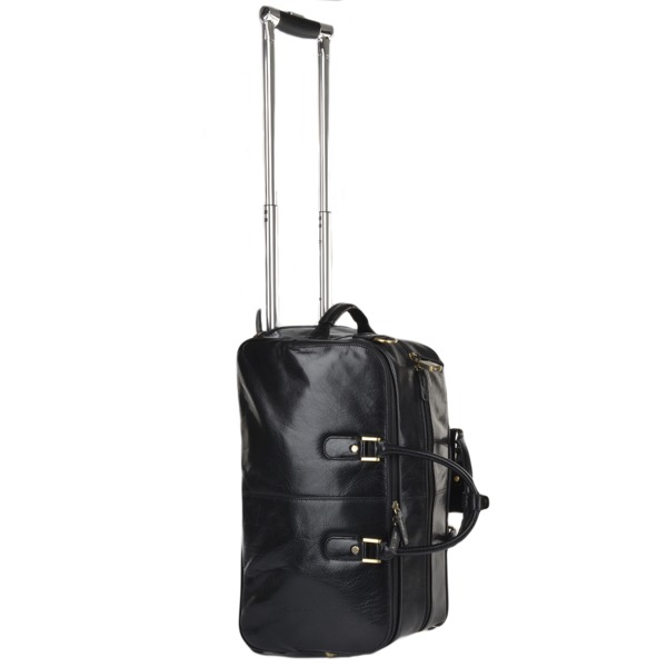 Square ashwood luggage vegetable tanned leather weekend travel holdall black 76660 p626 2553 image