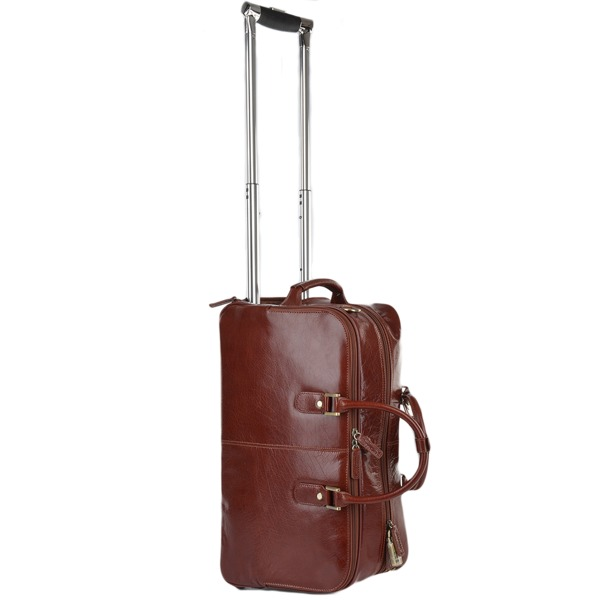 Square ashwood luggage vegetable tanned leather weekend travel holdall cognac vt 76660 p627 2558 image