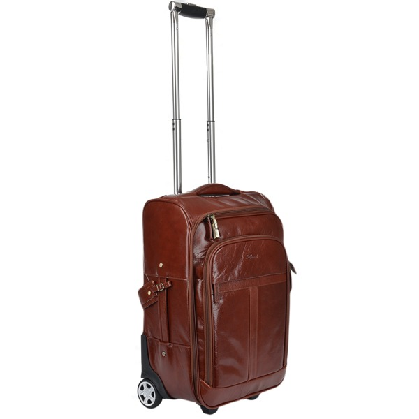Square ashwood veg tanned leather luggage cabin trolley cognac vt 89150 p926 3976 image