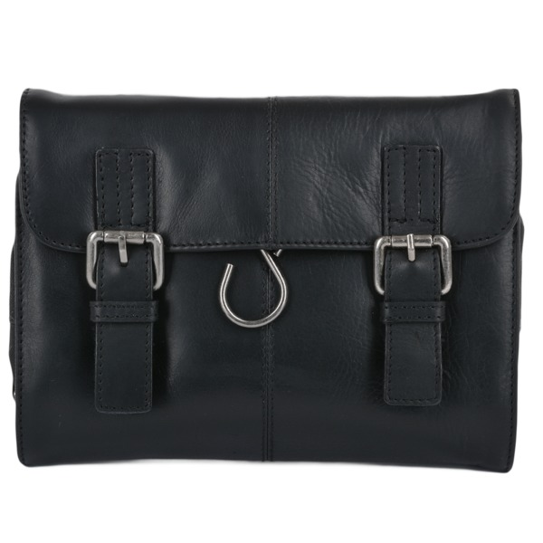 Square ashwood mens leather hanging toiletry bag black phil p603 2427 image