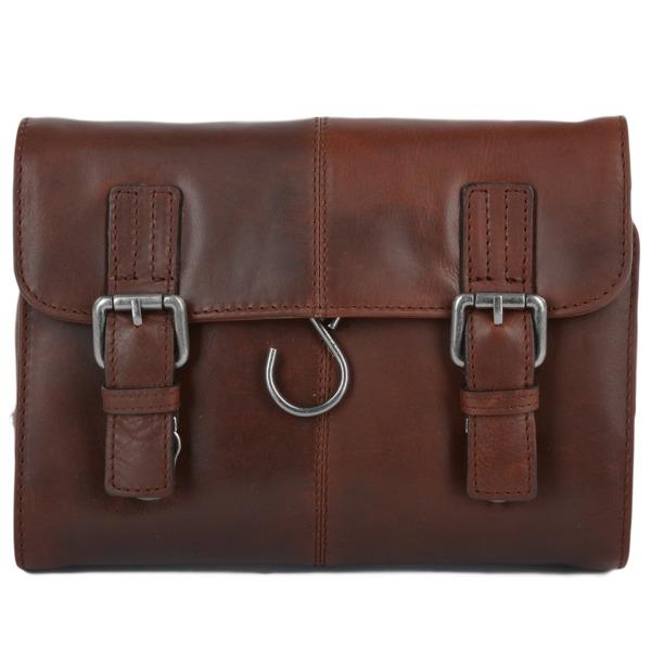 Square ashwood mens leather hanging toiletry bag tan phil p604 2432 image