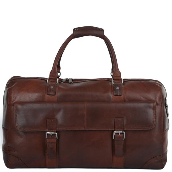 Square ashwood mens leather travel bag tan francis p619 2502 image