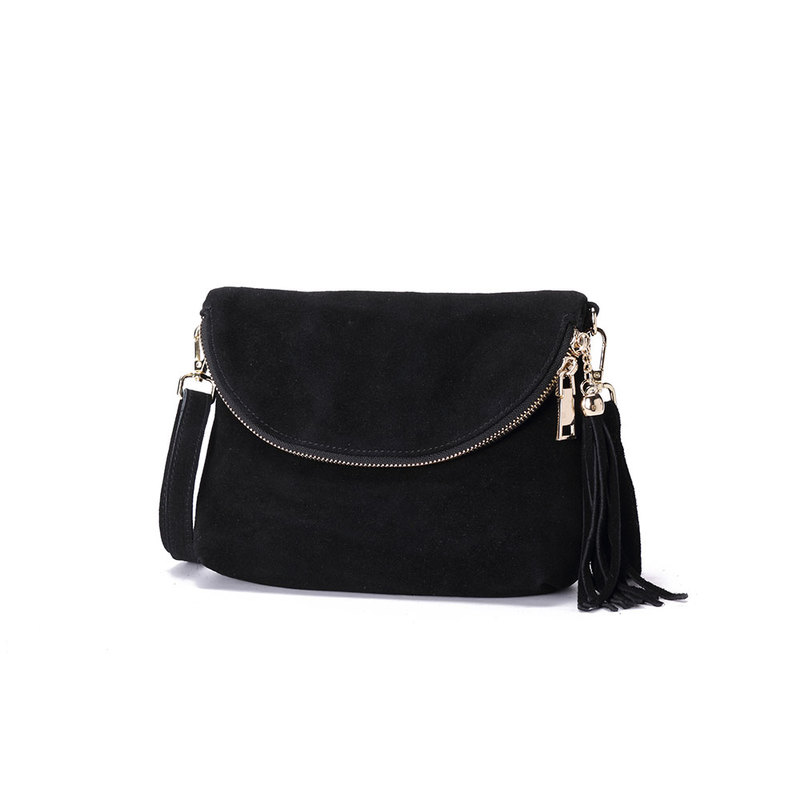 Black Fold Over Suede 10.0″ Clutch Style Bag
