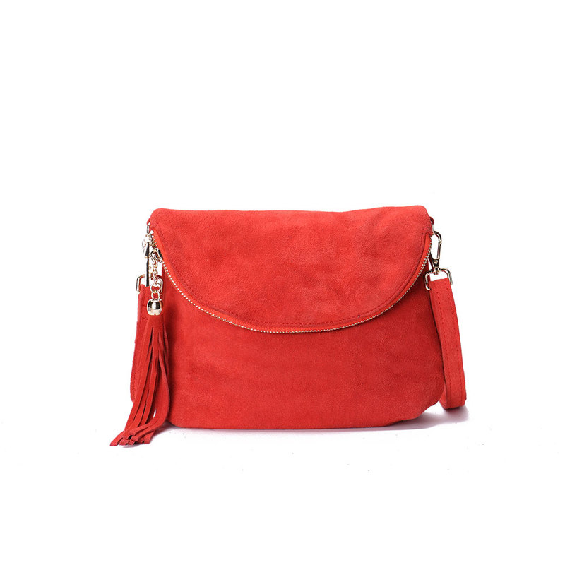 Red Fold Over Suede 10.0″ Clutch Style Bag
