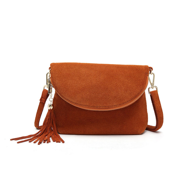 Tan Fold Over Suede 10.0″ Clutch Style Bag