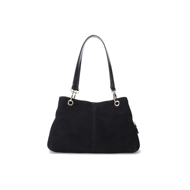 Black Suede Twin Handle Central Compartment 12.0″ Hand Bag