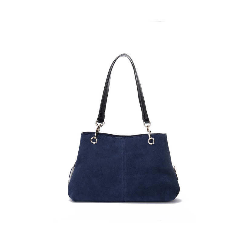 Navy Suede Twin Handle Central Compartment 12.0″ Hand Bag