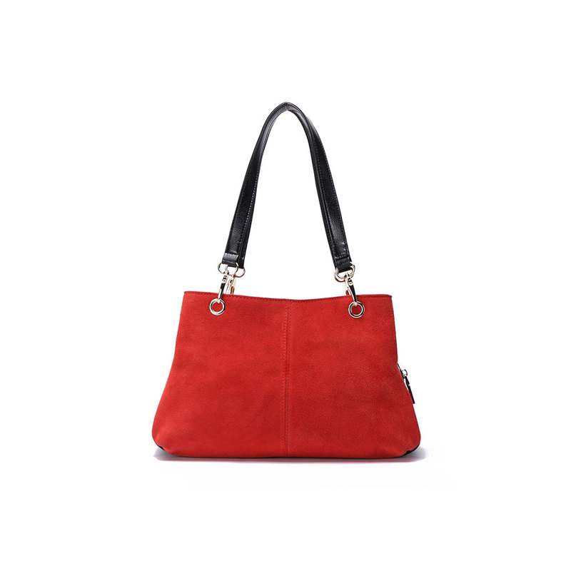 Red Suede Twin Handle Central Compartment 12.0″ Hand Bag