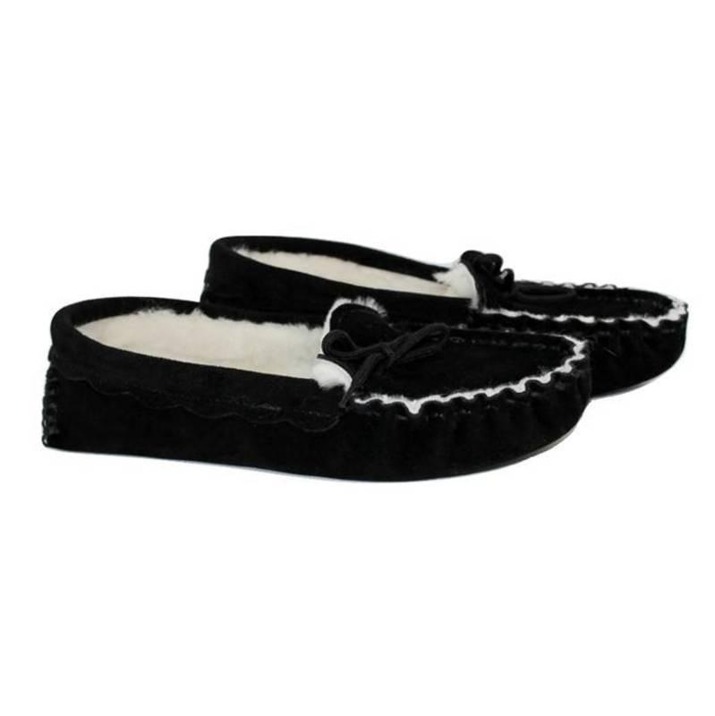 Black Sheepskin Moccasin Slippers