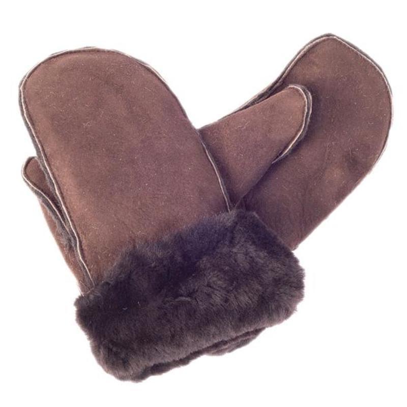 Ladies Brown Sheepskin Mittens