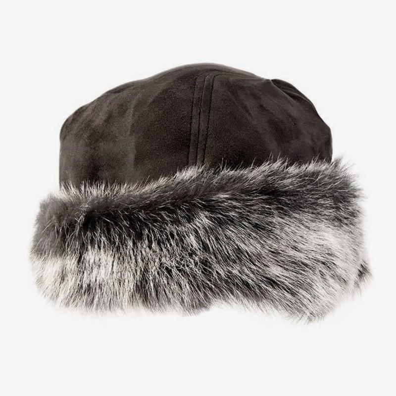 Ladies Brown Toscana Sheepskin Trim Hat