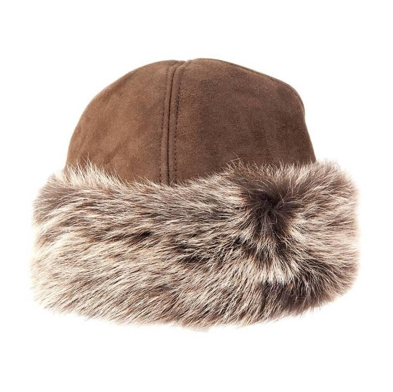 Ladies Tan Toscana Sheepskin Trim Hat