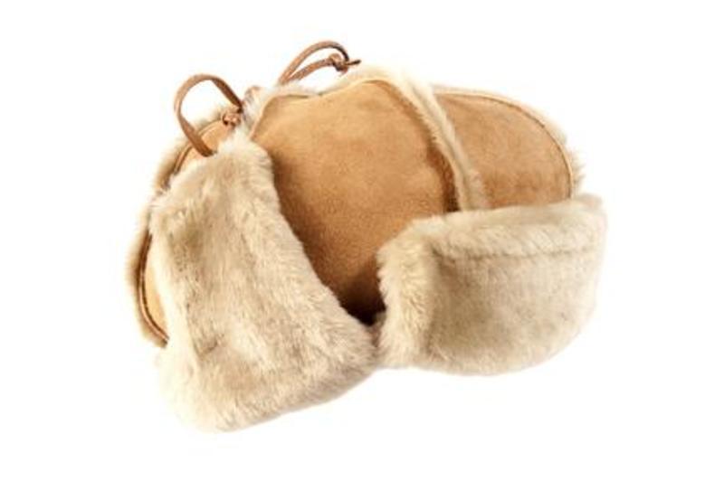 Tan Sheepskin Trapper Hat
