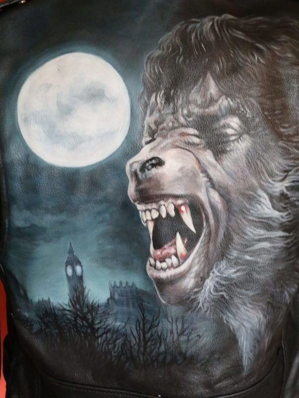 'American Werewolf' Hand-Painted Leather Jacket