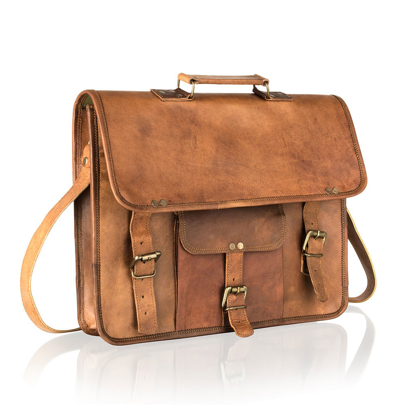 "Woodland Vintage Tan 15"" Satchel Briefcase"