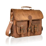 "Woodland Vintage Tan 14.5"" Satchel Briefcase"