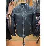 Men's Hi-Shine Collarless Black Biker Jacket