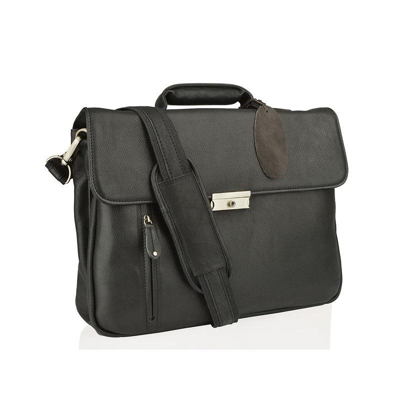 "Woodland Leather Large Black 15.0"" Satchel Briefcase"