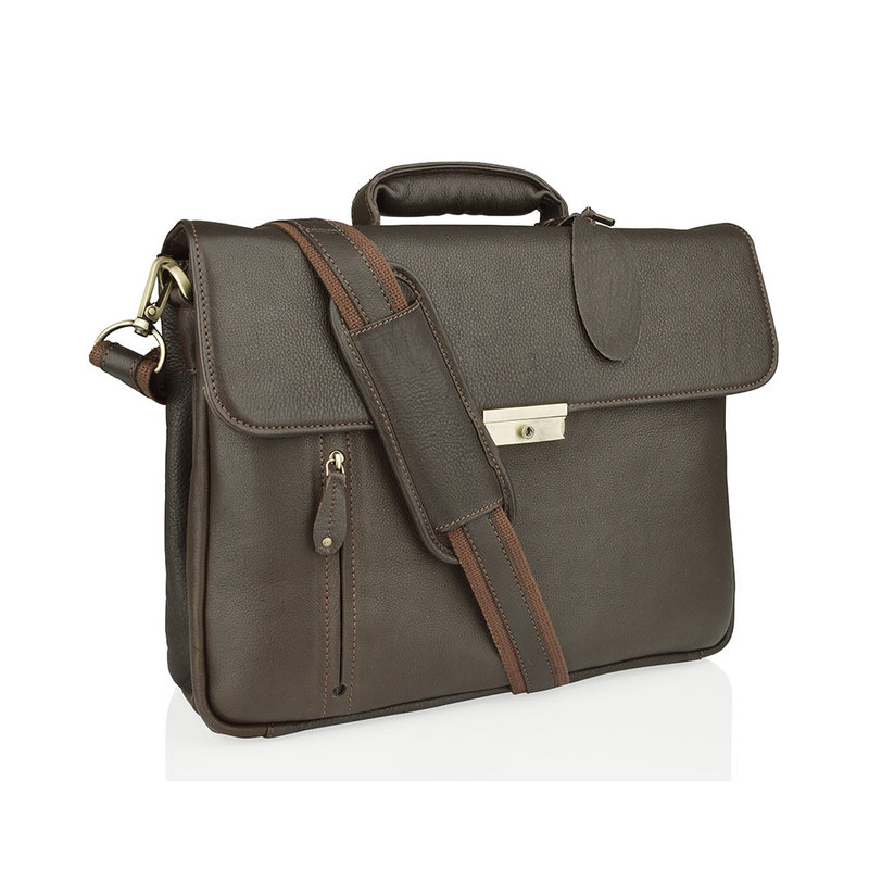"""Woodland Leather Large Brown 15.0"""" Satchel Briefcase"""