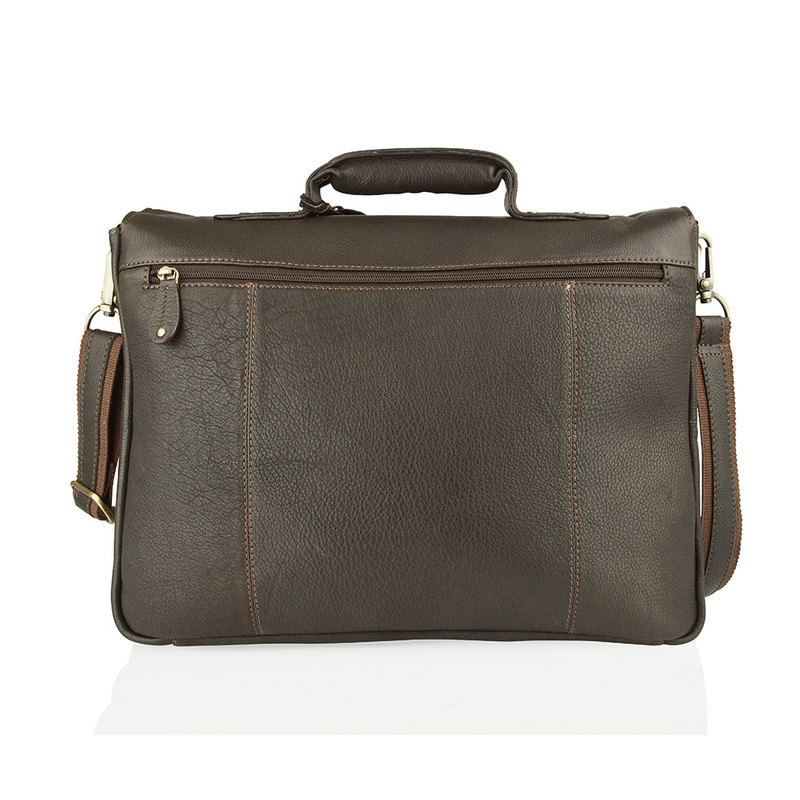 "Woodland Leather Large Brown 15.0"" Satchel Briefcase"