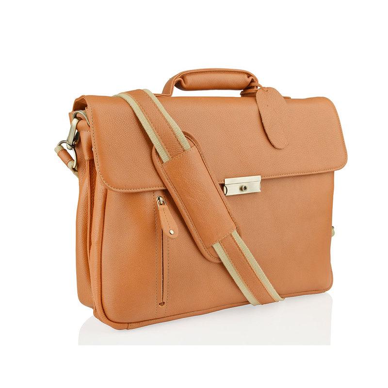 "Woodland Leather Large Tan 15.0"" Satchel Briefcase"