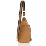 Woodland Leather Sandy Brown Nu Buck Cross Body Bag