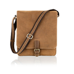 "Woodland Leather Sandy Brown Nu Buck Leather Portrait 12"" Messenger Bag"