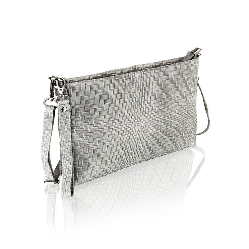 Woodland Leather Dark Grey Printed Leather Clutch Style Bag