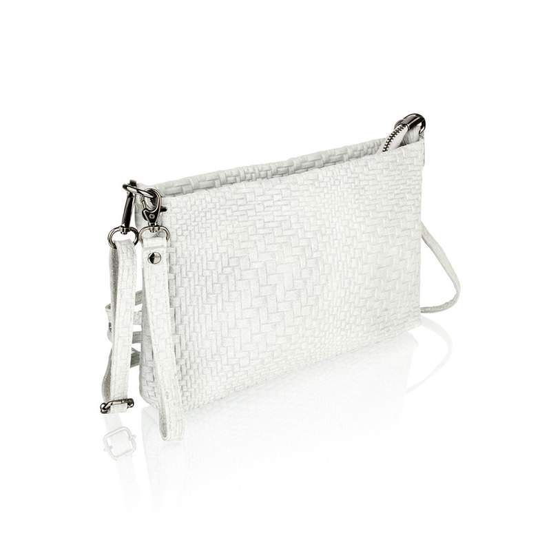 Woodland Leather Light Grey Printed Leather Clutch Style Bag