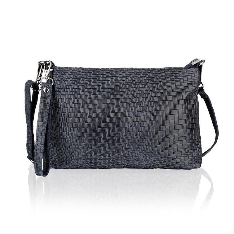 Woodland Leather Navy Printed Leather Clutch Style Bag