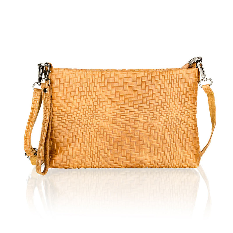 Woodland Leather Tan Printed Leather Clutch Style Bag
