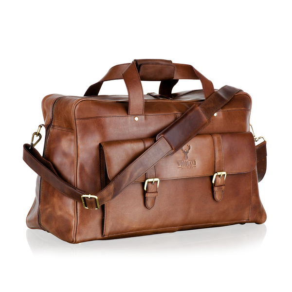 Square br3104 leather mens bag duffle messanger brown leather 2