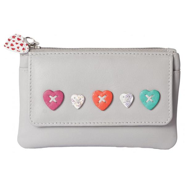 Square mala grey heart purse
