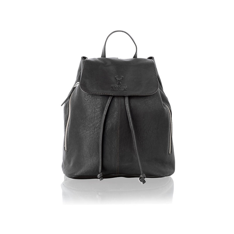 Woodland Leather Black Medium Size Backpack