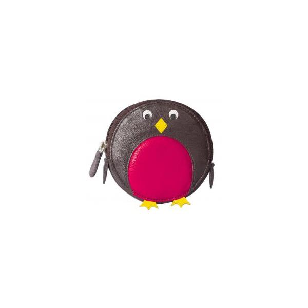 Square red penguin round coin purse