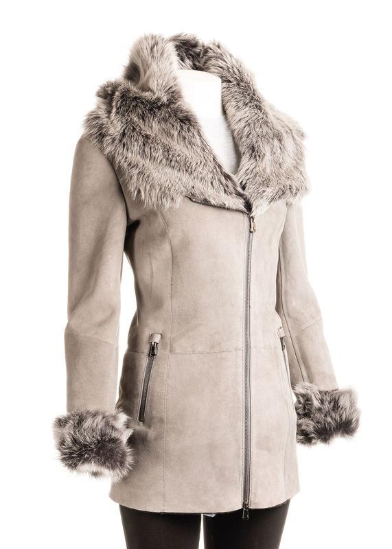 Women's 3/4 Length Grey Toscana Shearling Sheepskin Coat