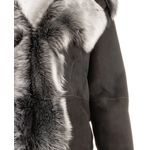 Ladies Black Colour Toscana Shearling Sheepskin Three Quarter Length Coat